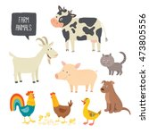 set of cute farm animals.... | Shutterstock .eps vector #473805556