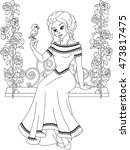 princess coloring page | Shutterstock .eps vector #473817475