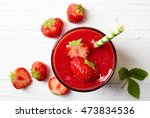 glass of strawberry smoothie on ... | Shutterstock . vector #473834536