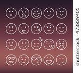 emoji set. set of thin line... | Shutterstock .eps vector #473839405