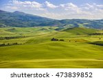 wheat field and countryside... | Shutterstock . vector #473839852