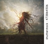 a woman is overtaken by roots