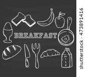 doodle breakfast food using... | Shutterstock .eps vector #473891416