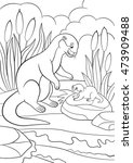 coloring pages. mother otter...   Shutterstock .eps vector #473909488