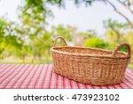 empty wicker basket on the... | Shutterstock . vector #473923102