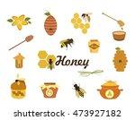 honey icons set  vector. set of ...