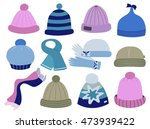 collection of knitted woolen... | Shutterstock .eps vector #473939422