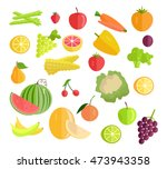 set of fruits vegetables . flat ... | Shutterstock . vector #473943358