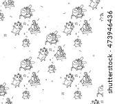 hand drawn piggy in doodles... | Shutterstock .eps vector #473946436