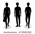 silhouettes of cute guys in... | Shutterstock .eps vector #473982502
