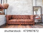 wood chair  in modern loft room ... | Shutterstock . vector #473987872