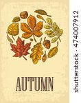poster autumn with set leaf and ... | Shutterstock .eps vector #474007912