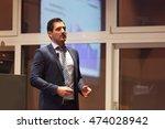 speaker giving talk on podium... | Shutterstock . vector #474028942