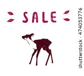 sale banner with fawn. vector... | Shutterstock .eps vector #474053776