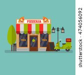vector landscape with pizzeria. | Shutterstock .eps vector #474056092