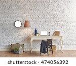 brick wall horizontal banner... | Shutterstock . vector #474056392