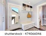 white hallway storage cabinet... | Shutterstock . vector #474066046