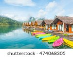 resort on water with colorful... | Shutterstock . vector #474068305