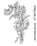 antique flowers engraving ... | Shutterstock .eps vector #47407864