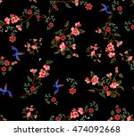 embroidery effect floral pattern | Shutterstock . vector #474092668