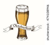 glass of beer with ribbon.... | Shutterstock .eps vector #474108946