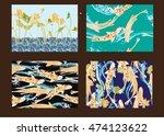 set hand drawn vector seamless... | Shutterstock .eps vector #474123622