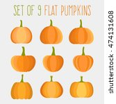 set of flat halloween pumpkins... | Shutterstock .eps vector #474131608