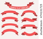 set of flat ribbons for cards ... | Shutterstock .eps vector #474131725