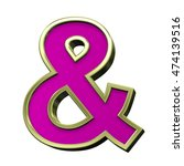 one letter from pink with gold... | Shutterstock . vector #474139516