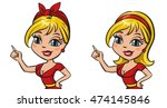 happy cute woman pointing copy... | Shutterstock .eps vector #474145846