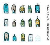 vector hand drawn houses for... | Shutterstock .eps vector #474147958