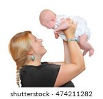 obese mother with her newborn... | Shutterstock . vector #474211282