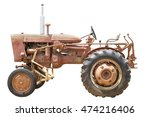The Old Tractor On White...