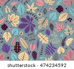autumn seamless pattern with... | Shutterstock .eps vector #474234592