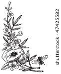 antique flowers engraving ... | Shutterstock .eps vector #47425582