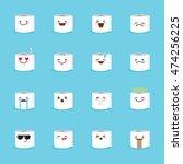 vector toilet paper emoji set.... | Shutterstock .eps vector #474256225