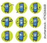 vector set of round green... | Shutterstock .eps vector #474266668