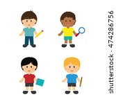 boys brush lupe pencil notebook ... | Shutterstock .eps vector #474286756