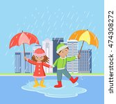 children with umbrellas in the... | Shutterstock .eps vector #474308272