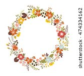 floral wreath with autumn... | Shutterstock .eps vector #474334162