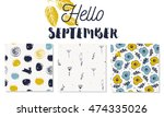 set of autumn backgrounds... | Shutterstock .eps vector #474335026