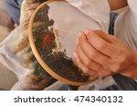 process of cross stitch close... | Shutterstock . vector #474340132