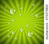water drops on green radial... | Shutterstock . vector #474375802