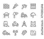 set line icons of constructing... | Shutterstock .eps vector #474381646