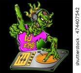 dj zombie in action with...   Shutterstock .eps vector #474407542