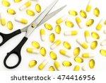 still life scissors and white... | Shutterstock . vector #474416956
