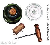 watercolor kitchenware clipart  ... | Shutterstock . vector #474437416