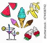 summer food decorative icons...