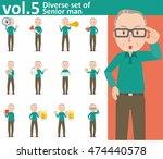 diverse set of senior man on... | Shutterstock .eps vector #474440578