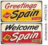 spain retro tin sign concept.... | Shutterstock .eps vector #474472765